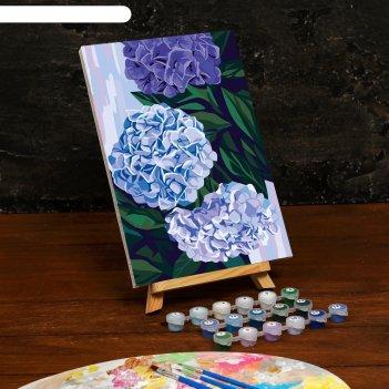 Картина по номерам на холсте с подрамником «гортензии» 20x30 см