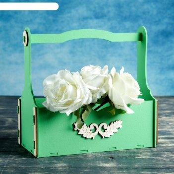 Декоративный ящик с ручкой, малый, без сборки, зелёное, 23,5х12,5х23,5 см