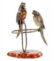 Am-514 фигурка попугаи (латунь, янтарь)