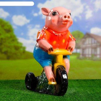 Фигурное кашпо свинка на велосипеде  24х40х51см микс