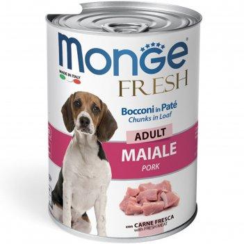 Влажный корм monge dog fresh chunks in loaf для собак, рулет из свинины, 4