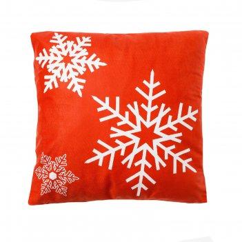 Наволочка декоративная этель снежинки 42 х 42 см, велюр