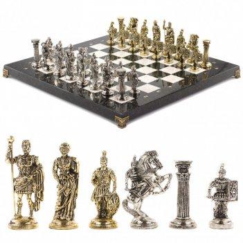 Шахматы с металлическими фигурами римские воины доска камень 44х44 см
