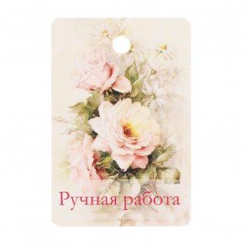 Бирка картон розы и ромашки двусторонняя 4х6 см