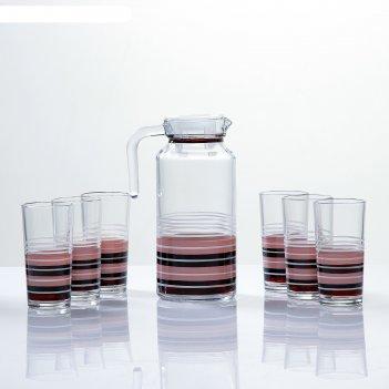 Набор для сока кофейный художественная роспись, 6 стаканов 1250/200 мл