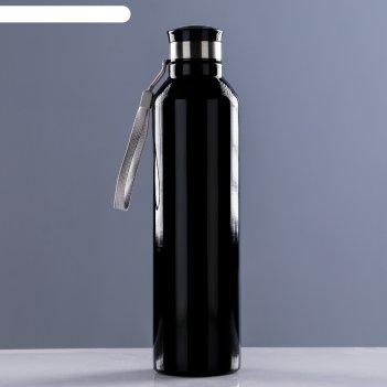 Фляжка-бутылка для воды 1000 мл, со шнурком, черная