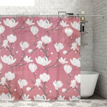 Штора для ванной цветущая сакура, розовая