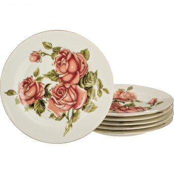 Набор тарелок из 6 шт. корейская роза диаметр=20...