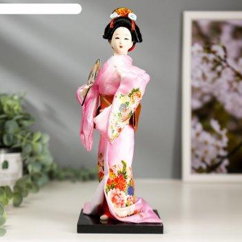 Кукла коллекционная японка в розовом кимоно с опахало 25х9,5х9,5 см
