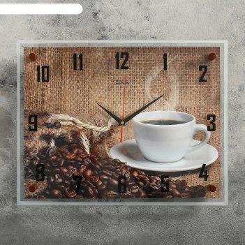 Часы настенные, серия: кухня, кофе 35х45  см, микс