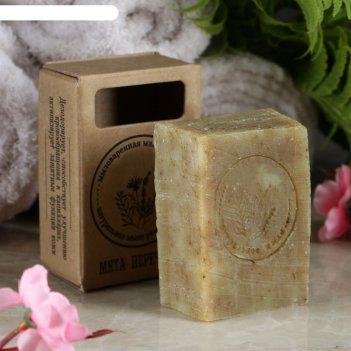 Натуральное крафтовое травяное мыло мята перечная в коробке, добропаровъ,