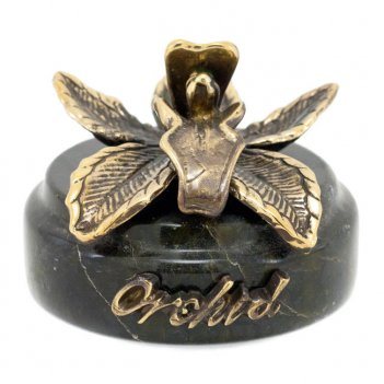 Статуэтка орхидея бронза змеевик