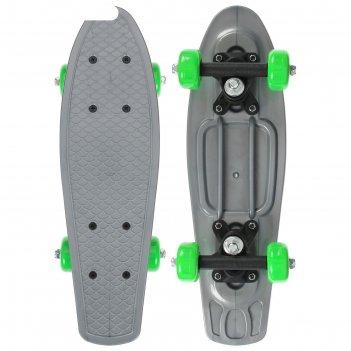 Скейтборд 42 х 12 см, колеса pvc 50 мм, пластиковая рама, цвет серый