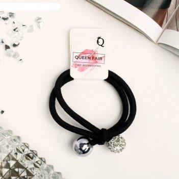 Резинка для волос валерия 6 см, шарики, чёрный