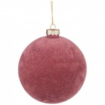 Елочное украшение шар коллекция велюр цвет: роза диаметр=10 см (мал-4 шт./