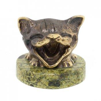 Статуэтка кот улыбака бронза змеевик