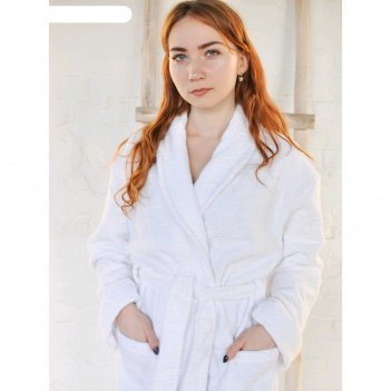 Халат махровый, размер 58, цвет белый