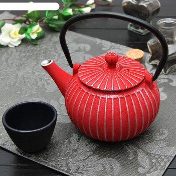 Чайник с ситом 500 мл тео, цвет красный