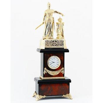 Каминные часы из яшмы россия, камень яшма, долерит, статуэтка бронза