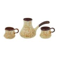 Кофейный набор резной 3 предмета: турка + 2 чашки шамот 0,570/0,160л