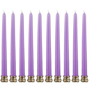 Набор свечей из 10 шт.высота=29 см.лавандовый