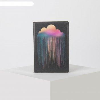 Обложка для паспорта 9,5*0,5*13,5см, радужное облако, черный