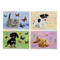 Альбом для рисования а4, 12 листов на скрепке котята и щенки 4 вида микс