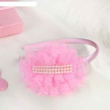Ободок для волос выпускница 0,5 см, бусины, розовый