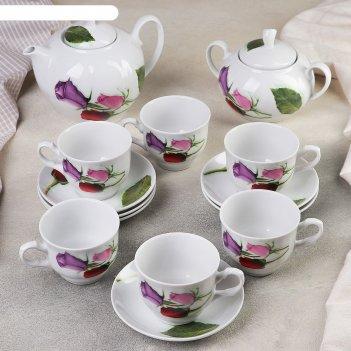 Сервиз чайный дыня. королева цветов, 14 предметов: чайник 1 л, сахарница 6