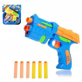 Пистолет с мягкими пулями присосками фом цвета микс
