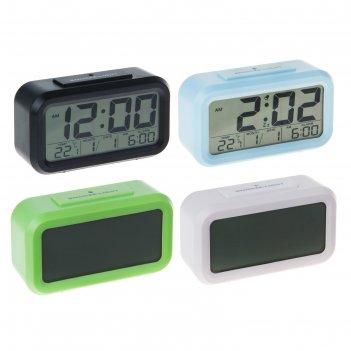 Часы-будильник lc105, дата, подсветка, t, календарь, мод.3019, 2аа (не в к