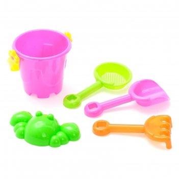 Песочный набор малыш, 5 предметов, объем ведра 0,15 л, цвета микс