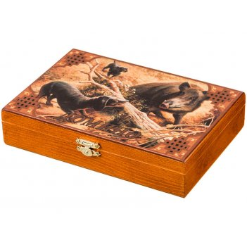 Домино в деревянной шкатулке охота на кабана