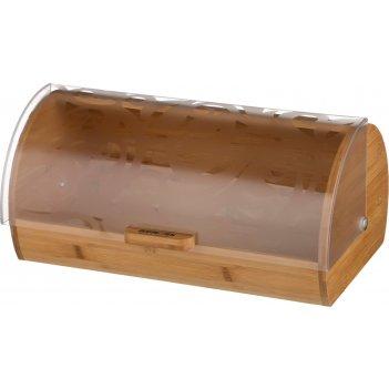 Хлебница деревянная с пластиковой крышкой 36*21*17 см. (кор=4шт.)