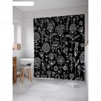 Фотоштора для ванной magic lady цветы на чёрном фоне, 180х200 см, п/э 100%