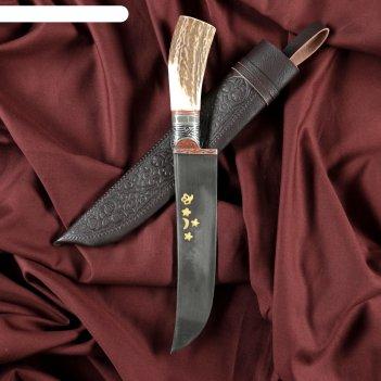 Нож пчак шархон - большой, косуля, широкая рукоять, гарда олово гравировка
