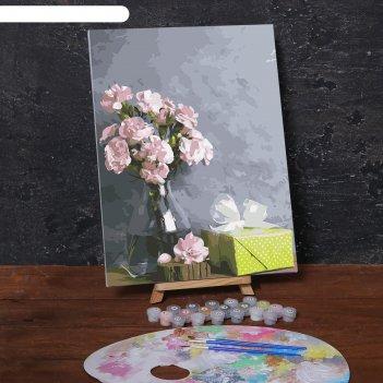 Картина по номерам на холсте с подрамником «розовые цветы и подарок», 40х3