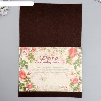 Фетр жесткий 2 мм горький шоколад набор 5 листов формат а4