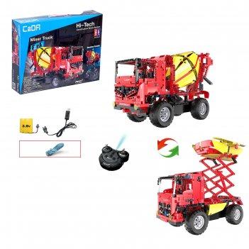 Конструктор радиоуправляемый грузовик бетономешалка, 2 в 1, с аккумуляторо
