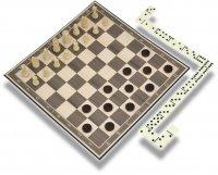 Набор игр 3 в 1 classic (нарды, шашки, домино)