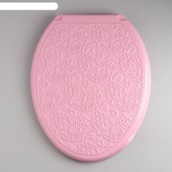 Сиденье с крышкой для унитаза декор. ажур, цвет розовый