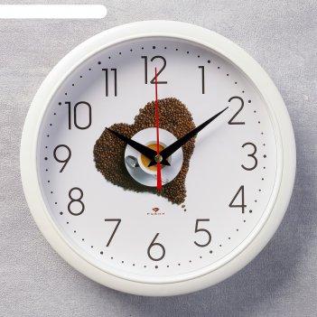 Часы настенные круглые кофе, 22х22 см