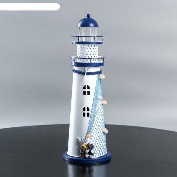 Ночник маяк 1хled белый-синий 9,5х9,5х29 см