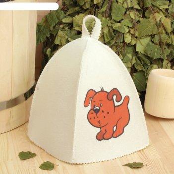 Банная шапка с детской термопечатью щенок