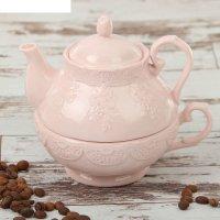 Набор чайный кружевная лоза 380 мл, 2 предмета: чайник, чашка, цвет розовы