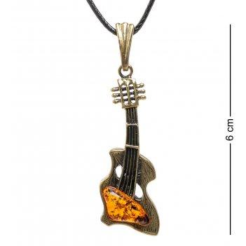 Am-1719 подвеска гитара (латунь, янтарь)