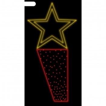 Светодиодная консоль генеральская звезда, 1х0.5 м,шнур 5м, метраж 5м (крас