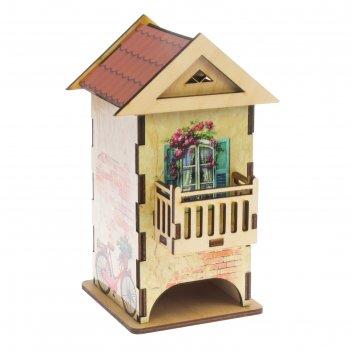 Чайный домик домик с балконом цветной 12х13х19,5 см