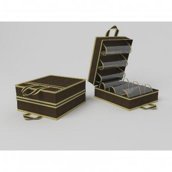 Чемоданчик для хранения обуви «классик коричневый», на 6 пар, 35х40х20 см