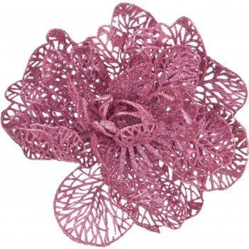 Изделие декоративное роза на клипсе. диаметр=12см. розовый (мал=50шт./кор=